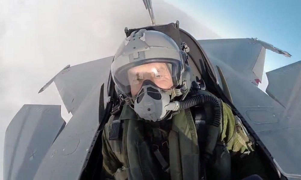 The President Rumen Radev pilots French fighter jet Rafael Dassault