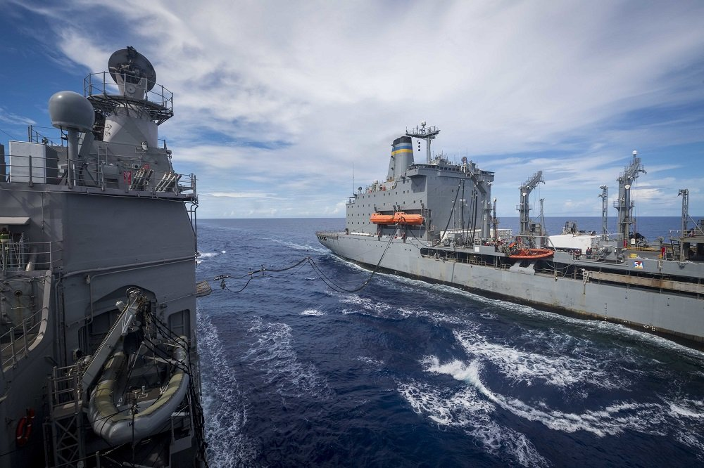 USS Chancellorsville conducts a Replenishment-At-Sea