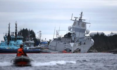 The KNM Helge Instad Frigate of Norway is in Danger of Sinking