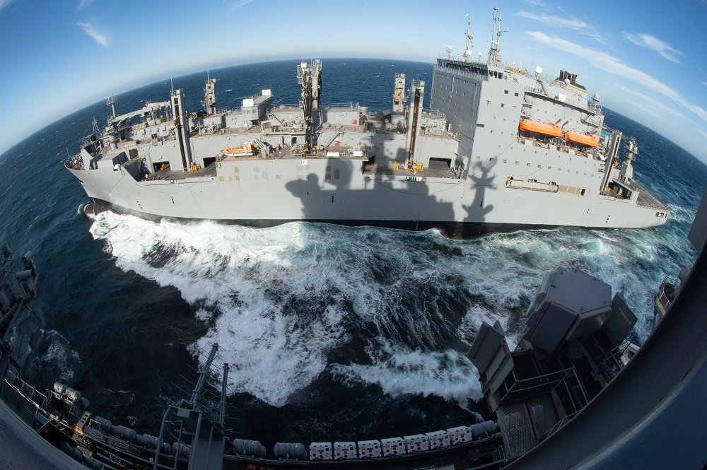 U.S. Ships conduct replenishment-at-sea