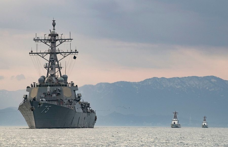 Russian Navy Warships Monitor the Actions of the USS Donald Cook in the Black Sea