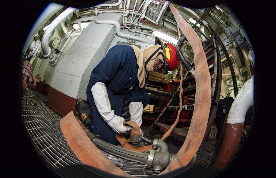 Damage control drill aboard USS Kearsarge