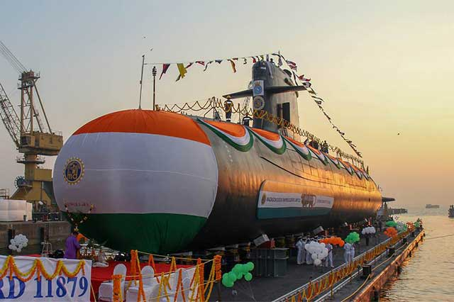 India-launched-its-own-Scorpene-class-diesel-electric-attack-submarine
