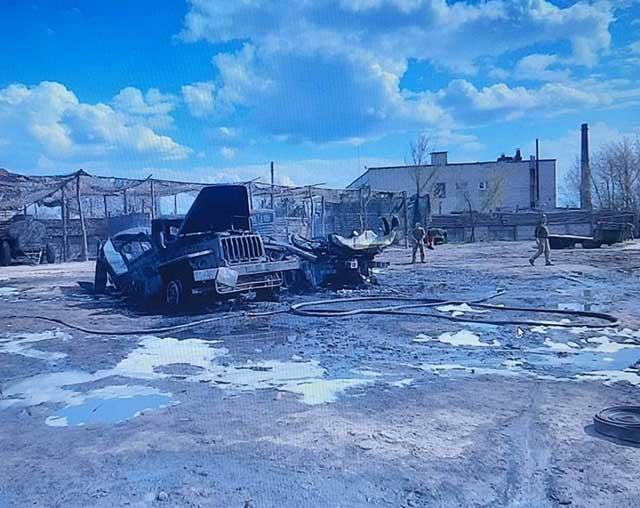 UAV-struck-a-Ukrainian-battalion-near-Luhansk-and-destroyed-equipment